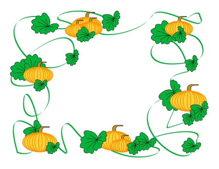 A border of pumpkins, vines, and leaves