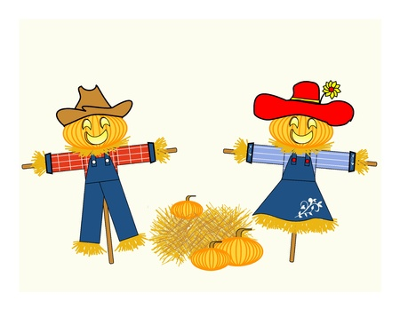 hay bales: Scarecrows dressed as a man and a woman with carved pumpkin heads separated by a bale of hay and pumpkins
