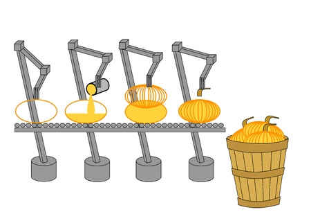 assembling: Robots assembling graphic pumpkins Stock Photo