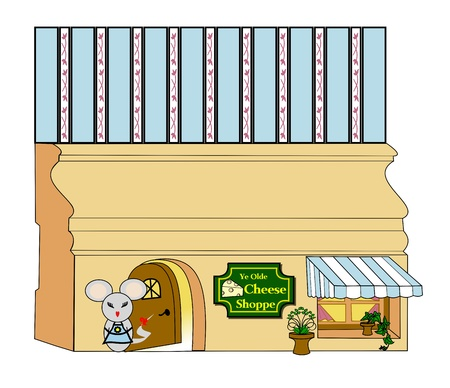 Mouse standing in front of a mouse hole in a baseboard decorated as a cheese store  photo