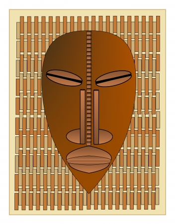 African tribal mask on a background of a woven mat