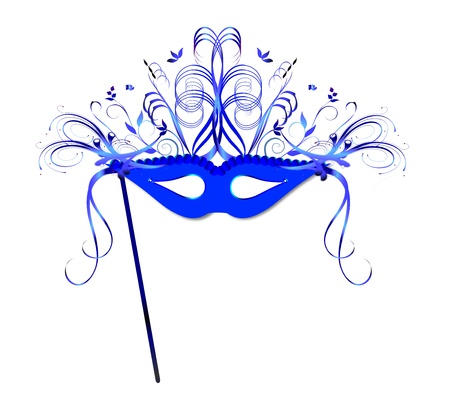 A highly decorated mask in tones of blue