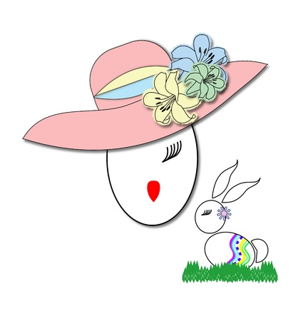 Girl's face in a flowery Easter bonnet next to a rabbit decorated as an Easter egg on a bed of grass
