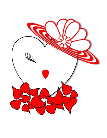 Face of a girl on a heart wearing a red hat on a bed of red rose petals  Stock Photo