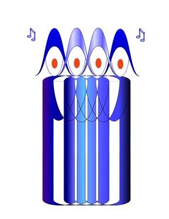 Singing members of a choir in blue robes