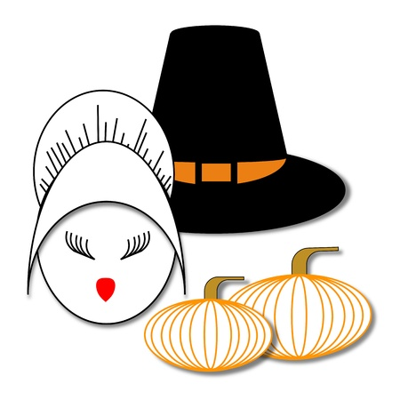 Face of a girl in a Pilgrim bonnet next to a male Pilgrim hat and two pumpkins