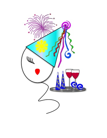 lang: Face of a girl on a balloon wearing a party hat next to a tray of two wine glasses and two noise makers with fireworks in the background  Stock Photo