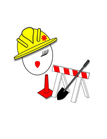 traffic barricade: Face of a girl in a hard hat next to a shovel, traffic cone, and a construction barricade Stock Photo
