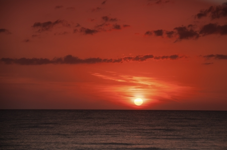 A red sunset over the Gulf of Mexico