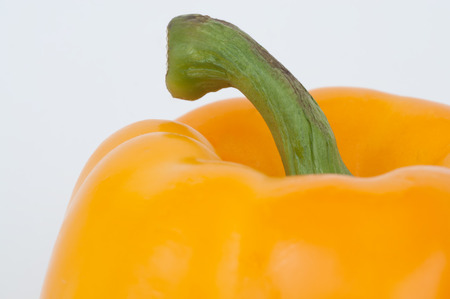 A photograph of a ripe yellow pepper with the stem attached