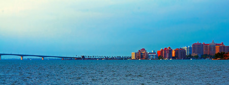 A panorama of Sarasota Florida and the Ringling Causeway in the evening