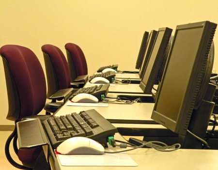 A photograph of a computer training classroom Stock Photo