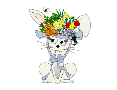 An illustration of a rabbit wearing a flowery Easter hat Banco de Imagens