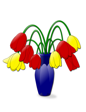 drooping: An illustration of a vase of wilting tulips
