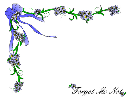 A border of Forget Me Not flowers and blue ribbon that includes the words Forget Me Not one a white background