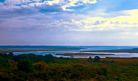 A panoramic photograph of the lowcountry of South Carolina Stock Photo