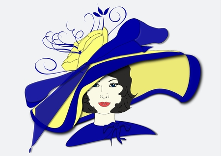 An illustration of a woman wearing a hat for the Kentucky Derby Stock Photo