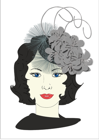 lass: An illustration of a woman wearing a fascinator hat Stock Photo