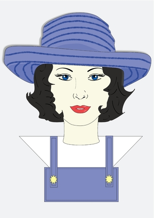 informal clothes: An illustration of a woman wearing a gardening hat