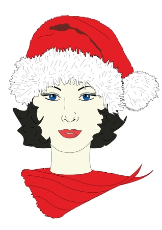 An illustration of a woman wearing a holiday hat Stock Photo