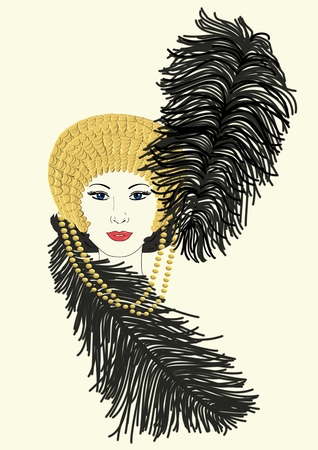 An illustration of a woman wearing a Mardi Gras hat Banco de Imagens