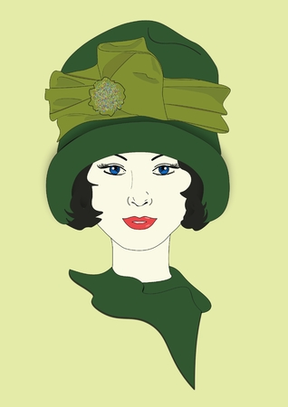 An illustration of a woman wearing a vintage hat