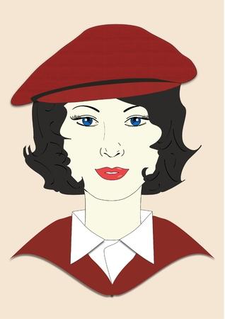 taxista: Una ilustración de una mujer que llevaba un sombrero de golf gorra plana