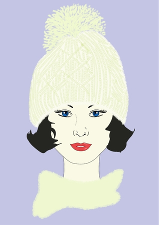 An illustration of a woman wearing a knit hat