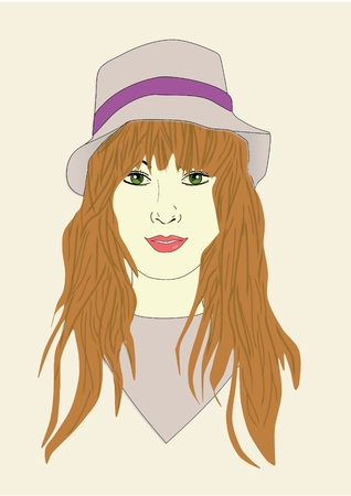 An illustration of a woman wearing a bucket hat