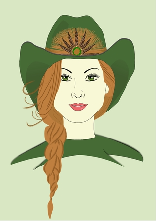 An illustration of a woman wearing a cowboy hat
