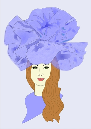 켄터키 더비를위한 모자를 쓰고있는 여자의 삽화