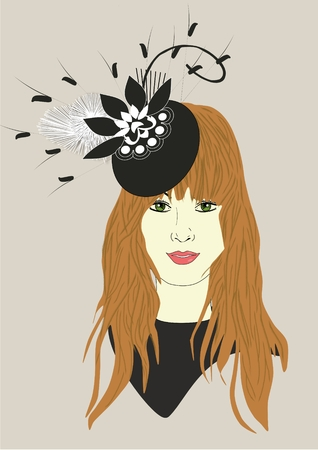 An illustration of a woman wearing a fascinator hat Banco de Imagens