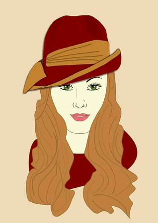 An illustration of a woman wearing a Fedora hat
