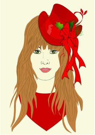 An illustration of a woman wearing a holiday hat Banco de Imagens