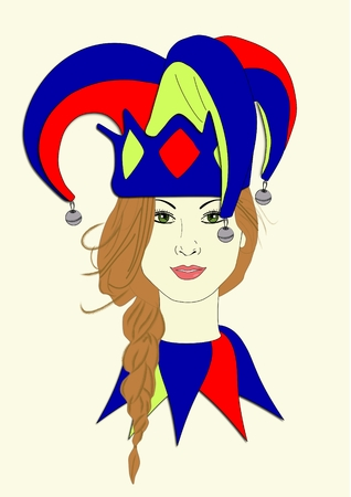 An illustration of a woman wearing a Mardi Gras hat Stock Photo