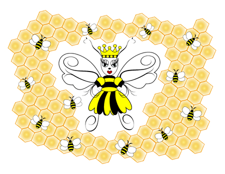 An illustration of a queen honeybee surrounded by honeycombs and worker bees