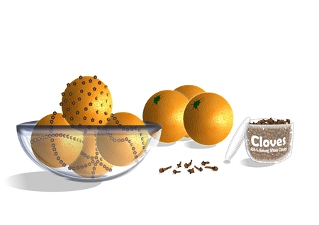 An illustration of the process of making clove-studded oranges for the Christmas holidays