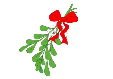 An illustration of a sprig of mistletoe adorned with a red bow