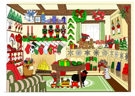 An illustration of a village store selling Christmas and holiday items Stock Photo