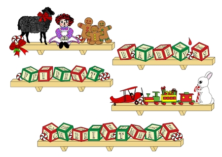 raggedy: An illustration shelves holding toys and alphabet blocks spelling the words Babys First Christmas