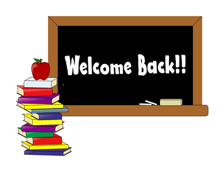 An illustration of the words Welcome Back printed on a blackboard next to a stack of books with an apple on top