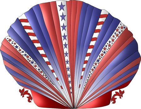 A scallop seashell decorated in the patriotic colors of red white and blue and adorned with stars and stripes.