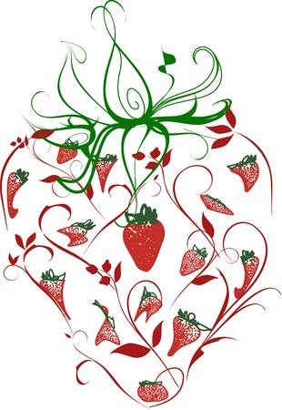 An ornate image of a strawberry and its leaves consisting of various strawberry forms Stock Photo