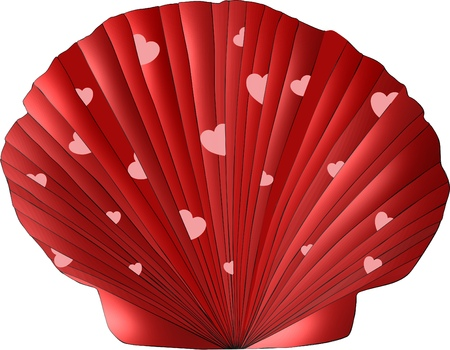 A scallop seashell decorated in Valentine colors of shades of red and adorned with pink hearts tucked into its folds Stock Photo