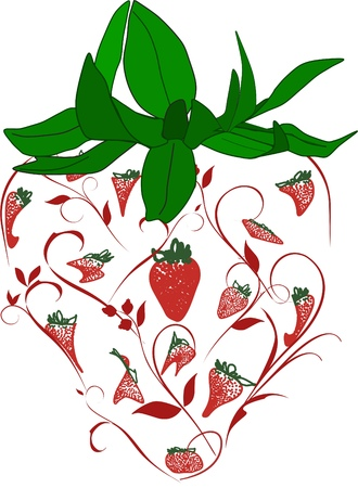 An ornate image of a strawberry and its dark green leaves consisting of various strawberry forms