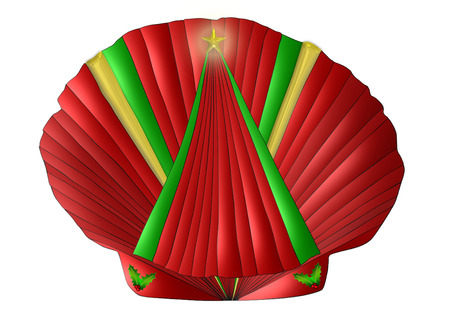 A scallop seashell decorated for Christmas in reds, greens, and gold