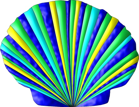A scallop seashell decorated in the colors of the sea, green, blue, turquoise, gold Stock Photo