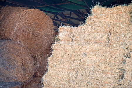 A photograph of both round and square hay bales stored in a barn Stock Photo