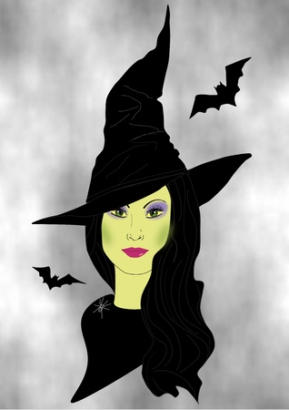 A drawing of a beautiful woman dressed as a witch for Halloween
