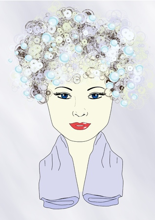 Illustratie van een meisje met shampoo in haar haar en een handdoek rond haar hals Stock Illustratie